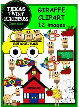SCHOOL GIRAFFES CLIP ART with BONUS IMAGES