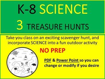 SCIENCE K-8 SCAVENGER/TREASURE HUNTS - 3 ACTIVITIES - NO P