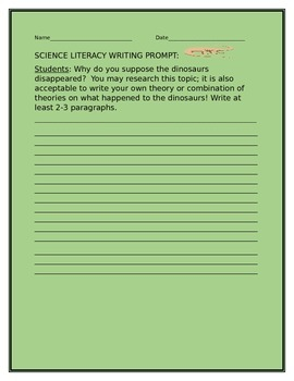SCIENCE LITERACY WRITING PROMPT: DINOSAURS