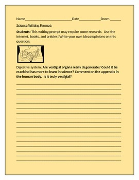 SCIENCE WRITING PROMPT: VESTIGIAL ORGANS