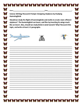 SCIENCE WRITING/ RESEARCH PROMPT: AVIATION & HUMMINGBIRD,