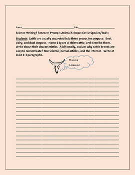 SCIENCE WRITING/RESEARCH PROMPT: CATTLE SPECIES
