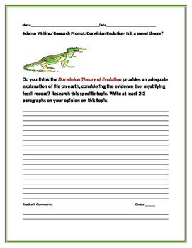 SCIENCE WRITING/ RESEARCH PROMPT: DARWINIAN EVOLUTION THEORY