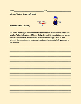 SCIENCE WRITING RESEARCH PROMPT: DRONES & MAIL DELIVERY