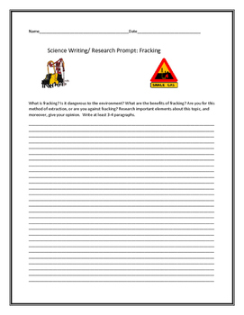 SCIENCE WRITING/RESEARCH PROMPT: FRACKING