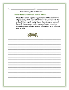 SCIENCE WRITING/ RESEARCH PROMPT: GREEN CRABS