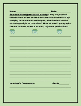 SCIENCE WRITING/ RESEARCH PROMPT: JELLY FISH, GRADES 6-12,