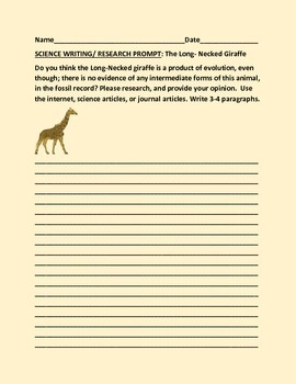 SCIENCE WRITING/ RESEARCH PROMPT: LONG NECKED GIRAFFE