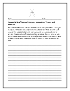 SCIENCE WRITING/ RESEARCH PROMPT: MOSQUITOES, VIRUSES, AND