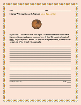SCIENCE WRITING/ RESEARCH PROMPT: RESTORATION OF MARS