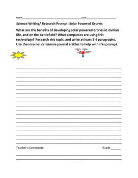SCIENCE WRITING/ RESEARCH PROMPT: SOLAR POWERED DRONES