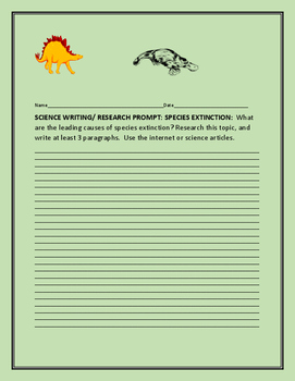 SCIENCE WRITING/ RESEARCH PROMPT: SPECIES EXTINCTION