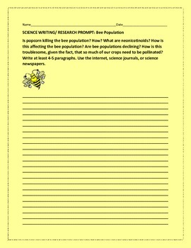 SCIENCE WRITING/ RESEARCH PROMPT: BEE POPULATION