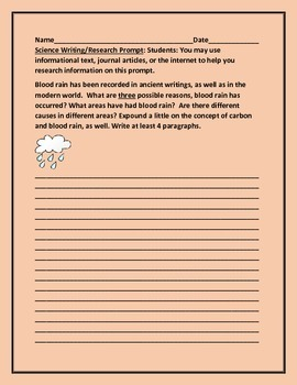 SCIENCE WRITING/RESEARCH PROMPT: BLOOD RAIN/GRADES 6-12