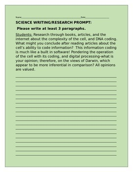 SCIENCE WRITING/RESEARCH PROMPT/COMPLEXITY OF THE CELL GRA