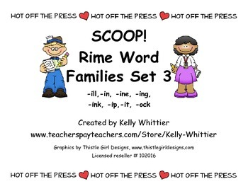 SCOOP! Rime Word Families Set 3 Reading Card Game