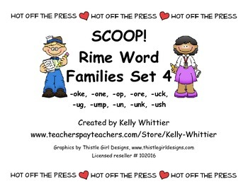 SCOOP! Rime Word Families Set 4 Reading Card Game