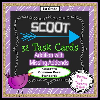 SCOOT 32 Task Cards - Addition with Missing Addends - Myst