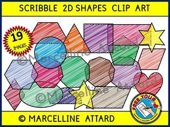 SCRIBBLE 2D SHAPES CLIPART: GEOMETRIC SHAPES CLIPART: FLAT