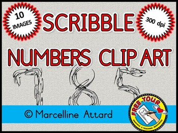 FREE CLIPART: SCRIBBLE NUMBERS CLIPART:  NUMBERS 0 TO 9: M