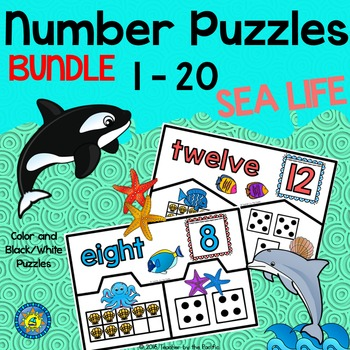 SEA LIFE Math: Number Puzzles 1 – 20 {BUNDLE} Ten Frames and Dice