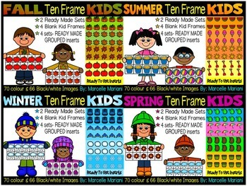 SEASONAL TEN FRAME KIDS CLIP ART BUNDLE- 544 IMAGES- COMME