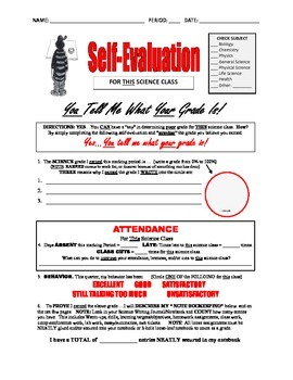 I EARNED IT! . . . 8-PAGE Student SELF-EVALUATION for SCIE