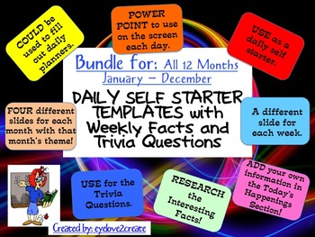 SELF STARTER TEMPLATES {TRIVIA FACTS/TRIVIA QUESTIONS} {BU