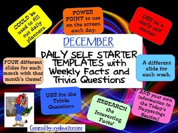 SELF STARTER TEMPLATES {TRIVIA FACTS/TRIVIA QUESTIONS} {December}