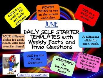 SELF STARTER TEMPLATES {TRIVIA FACTS/TRIVIA QUESTIONS} {June}