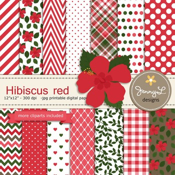 SET: Hibiscus Red Digital Paper and Clipart, Flower Blosso