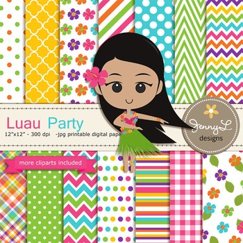 Luau Party Digital Paper and Clipart
