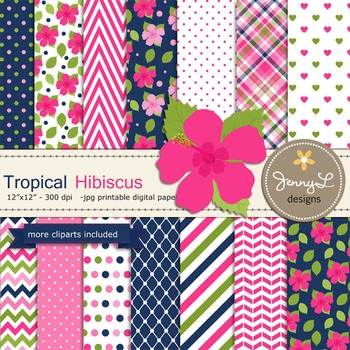 SET: Tropical Hibiscus Digital Paper and Clipart, Flower B