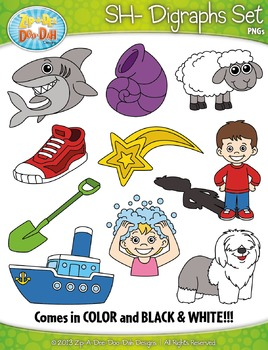SH- Digraphs Words Clipart Set — Includes 20 Graphics!