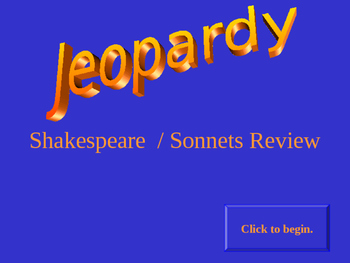 SHAKESPEARE JEOPARDY GAME REVIEW