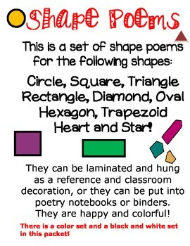 SHAPE POEMS **EASY TO READ & LEARN SHAPES * black & white
