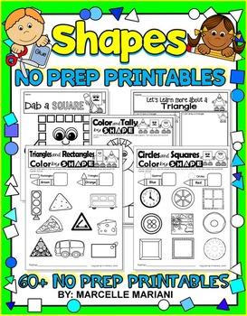SHAPES- 60+NO PREP PRINTABLES FOR KINDERGARTEN