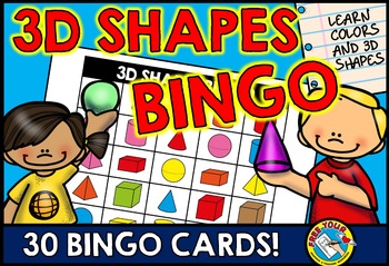 SOLID SHAPES GAME: 3D SHAPES BINGO: 3D SHAPES ACTIVITIES: