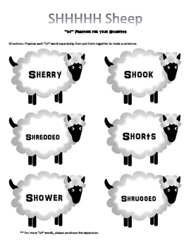 SHHH Sheep - SH Articulation Practice