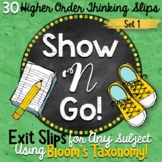 Exit Slips using Bloom's Taxonomy - Set 1