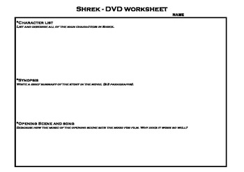 shrek worksheet by jeni little teachers pay teachers. Black Bedroom Furniture Sets. Home Design Ideas