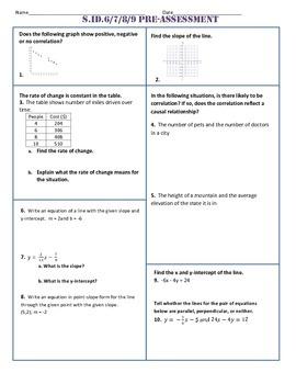 S.ID.6,7,8,9 Common Core Pre-Assessment/Test