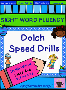 SIGHT WORD FLUENCY PRACTICE: Dolch Speed Drills Lists 4-6