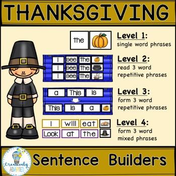SIGHT WORD SENTENCE BUILDERS-Thanksgiving, Wampanoag (K-2/