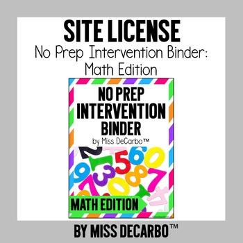 SITE LICENSE No Prep Intervention Binder Math Edition