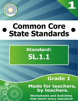 SL.1.1 First Grade Common Core Bundle - Worksheet, Activit