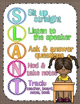 SLANT ~ Classroom Active Participation Poster {based on Dr