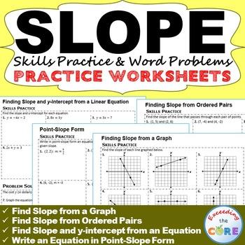 SLOPE & y-INTERCEPT Homework Worksheets: Skills Practice &
