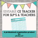Editable CEU tracker- SLP and Teacher (FREE)