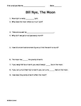 SLesson 08 Part 1 Bill Nye the Moon Worksheet